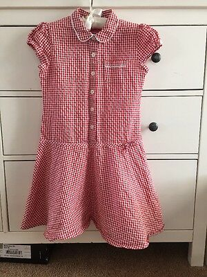 Matalan Red Gingham Checked Button Front School Summer Dress 10 Years