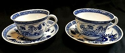2 Antique Blue White Chinese Export Tea Cup And Saucer Canton China Hand Made