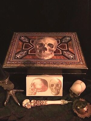 Antique Wood Skull Occult Altar Box with Contents Vintage Witchcraft Lap Desk