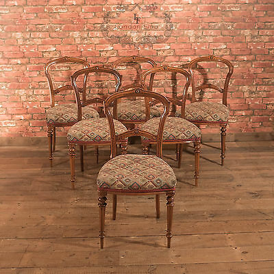 Set of 6 Antique Dining Chairs, Aesthetic Movement, English Walnut, c.1880