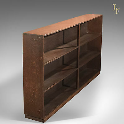 Mid Century Bookcase, Six Section Open Shelf, English Oak