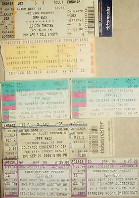 Lot of 7 JEFF BECK ticket stubs 1976, 1999, 2006, 2011