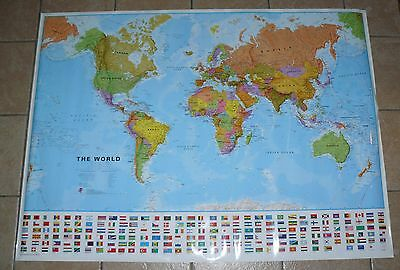 Map of the World Laminated Giant Poster Wall Decor 51 x 37