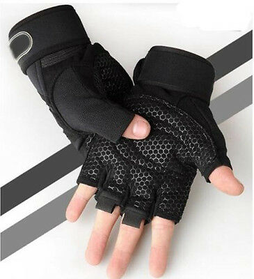 Weight Lifting Gym Gloves Training Fitness Wrist Wrap Workout Exercise Sport NEW
