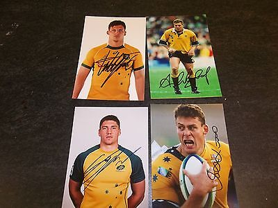 4, Australia Rugby Players, 4 Signed 6 X 4 Photos
