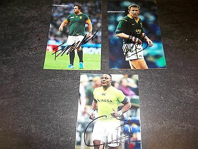 3 South Africa Rugby Players, 3 Signed 6 X 4 Photos