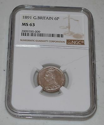1891 Great Britain Silver 6 Pence United Kingdom Graded by NGC as MS 63