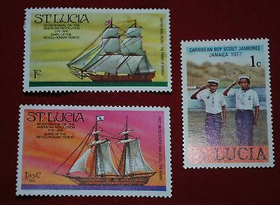 St Lucia Unmarked Stamps x 3