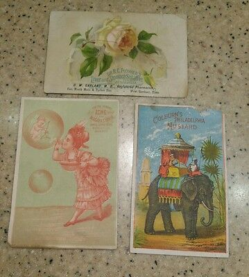 lot of trade cards Garland Pharmacy, Colburns Mustard Acme soap