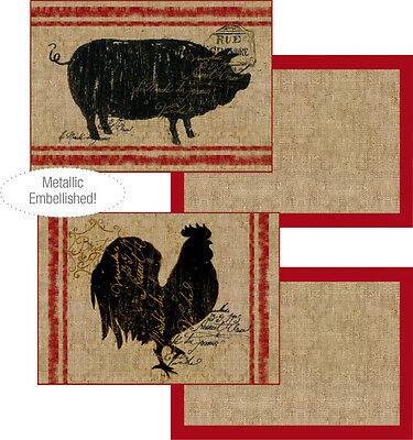 French Country Farm House Primitive - Pig Rooster Burlap Placemat Set of 4
