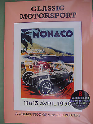 CLASSIC MOTORSPORT Collection Of 8 Posters Inc: IOM TT, Le Mans, Monaco ALL MINT