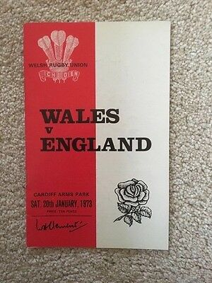 Wales v England 1973 Rugby. Match programme.
