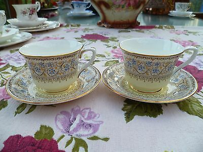 2 Vintage Royal Worcester China Small Coffee Cups & Saucers Lady Evelyn