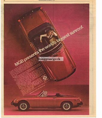 1976 MG MGB Red Vtg Print Ad