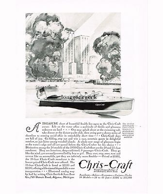 1930 Chris-Craft 20-foot All-Mahogany Motor Boat art Vtg Print Ad
