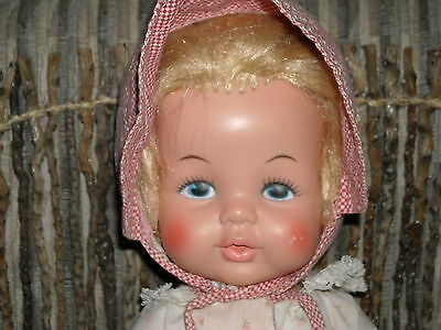 "vintage eegee 14P blond hair blue eyes doll 13"" tall bottle mouth painted eyes"