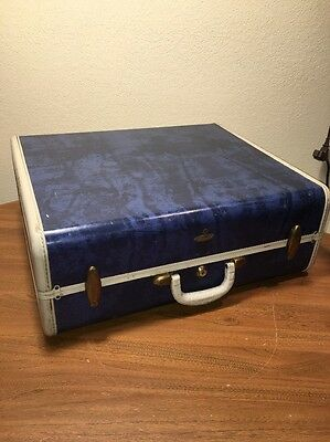 Samsonite Mid-century Hard Shell Luggage Blue Marble Suitcase Brass Hangers
