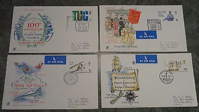 GB 1968 British Anniversaries 4 FDCs with Special First day of Issue Postmarks