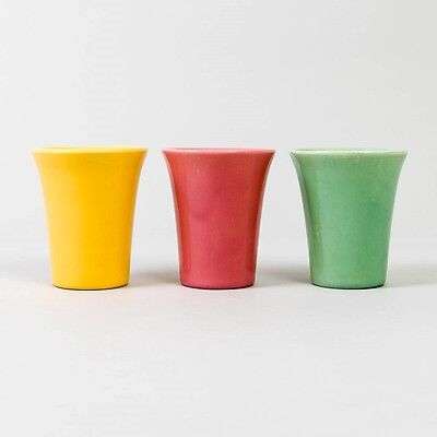 Vtg Set of 3 BAUER Pottery Flared Tumblers Pink Yellow Green Glasses No Handles