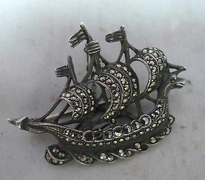 Antique 925 Silver & Marcasite Ship Brooch 4.4cm 10g