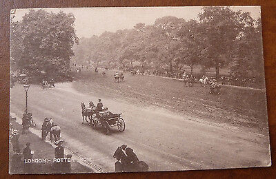 Vintage Postcard- London Rotten Row- Horse and Riders
