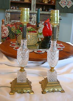Pair: VINTAGE CRYSTAL & DORE BRASS BEDSIDE LAMPS ACCENT TABLE LAMPS w/ Sticker