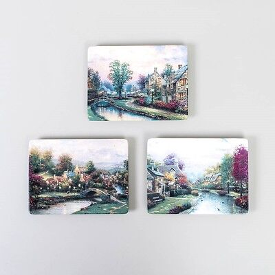 Complete 3 Pc. Set Thomas Kinkade Lamplight Village Plates Brooke County Lane