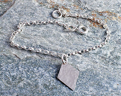 Sterling Silver Hammered Diamond Charm Chain Bracelet 925