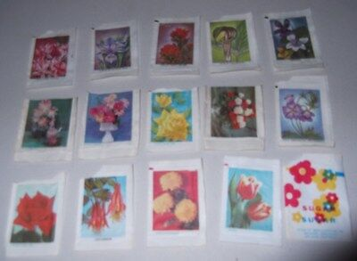 Vtg 1970s Flowers Roses Tulips Photos Domino Sugar Packets Lot