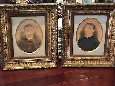 Antique Pair Matching FRENCH FLUR DE LIS  Frames Pastel Man & Wife Paintings