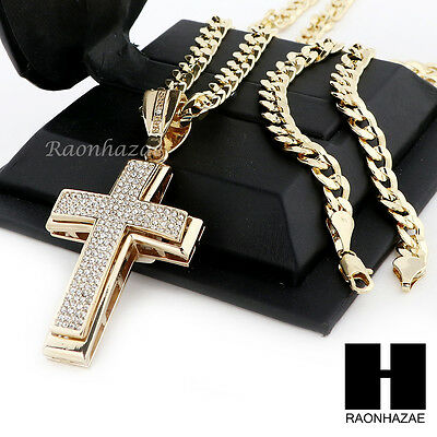 Men's Iced Out Large Cross Pendant & Diamond Cut Cuban Link Chain Necklace Nn50