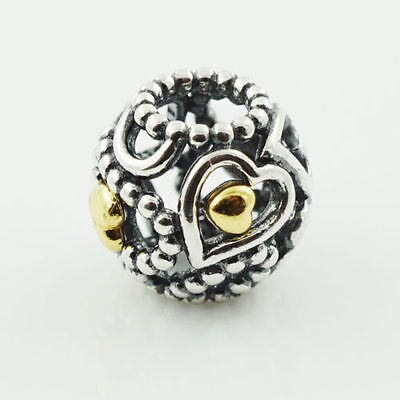 Genuine Pandora Openwork Love Heart charm Sterling Silver and 14ct Gold