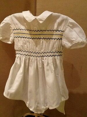 Vintage Romper Suit In White Cotton With Blue Smocking Detail