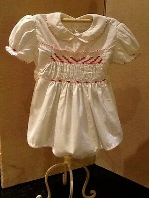 Vintage Romper Suit In White Cotton With Embroidered Smocking Detail In Red