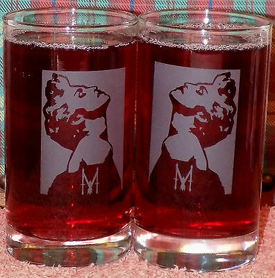 "New Hand Etched Pair of ""Madonna"" Highball Glasses - Gift/Memorabilia"