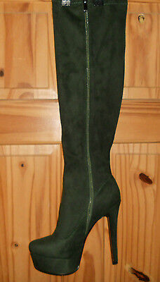 Ladies  Faux Suede Knee High Platform Boots Green Size 38
