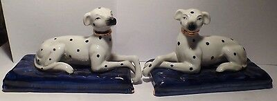 Vintage Pair of Staffordshire Seated Greyhounds Whippets Dogs