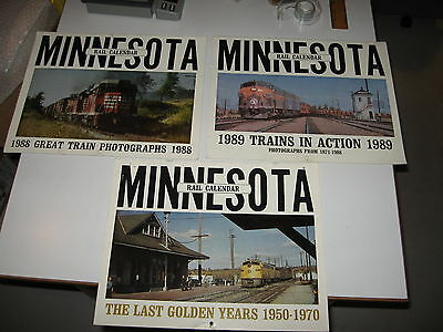 3 Railroad Calendars - 1988, 1989, 1990 - Minnesota - Great Trains in Action