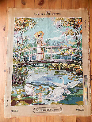 Large Vintage French Tapestry Needlepoint Flowers Completed, Pastel Colours