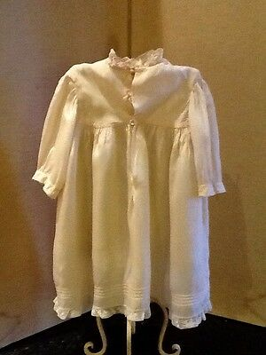 Lovely Period Silk Baby Dress With Pintuck, Embroidery And Lace Detail