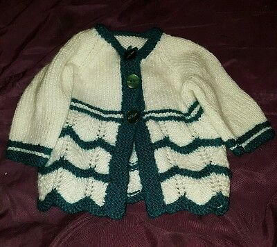 hand-knitted baby cardigan size 0-3 months @