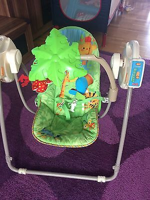 Fisher Price Rainforest Open Top Take Along Baby Swing Music Very Good Condition