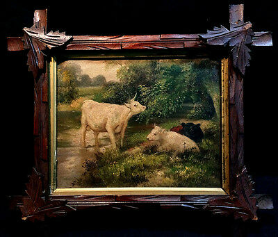 Anitque Painting Cows In Pasture Bull Stream In Carved Leaf Frame Oil On Canvas