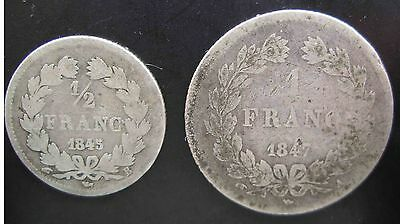 French Louis Philippe 1 Franc 1847A & 1/2 Franc 1845B Silver