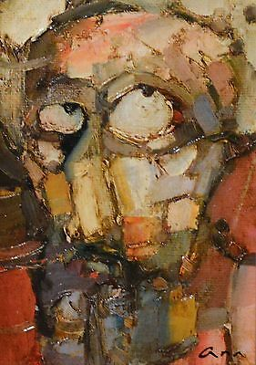 """Original abstract painting oil on canvas board """"Portrait"""" signed by artist"""
