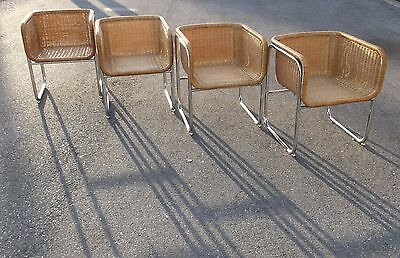 Mid Century Modern Fabricius Kastholm Harvey Probber Style Chrome Rattan Chairs
