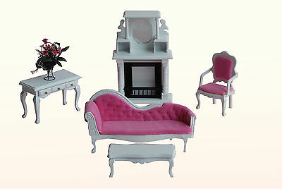 Wooden White and Pink Living Room Doll House Furniture Set
