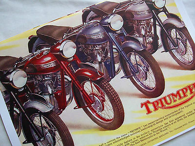 Triumph 1955 Motorcycle Sales Brochure  World Wide Free Shipping