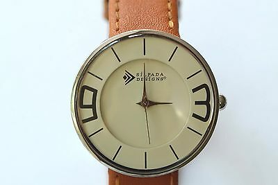 Silpada Women's Stainless Steel Tan Brown Leather Cream Circle Face Watch