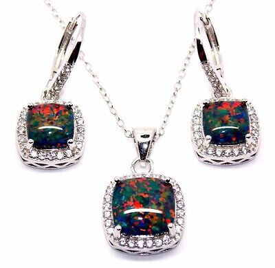 Sterling Silver Black Fire Opal And Diamond 8.46ct Cluster Necklace Set (925)